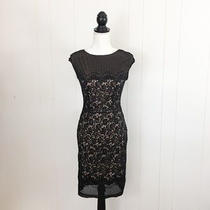 Joseph Ribkoff Black Lace Overlay Cocktail Dress